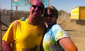 Heather and Paul at the 5K race, Color me Rad